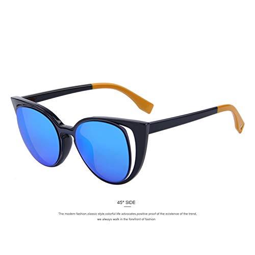 Daawqee Prämie Sonnenbrillen,Brillen,Fashion Cat Eye Sunglasses Women Brand Designer Retro Pierced Female Sun Glasses Oculos De Sol Feminino UV400 C04 Blue