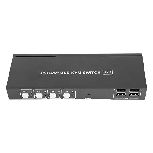 ASHATA USB HDMI KVM Switch 4 Port, 4-in-1-Out HDMI 4K @ 30Hz 1080P @ 60Hz 3D HD KVM Switch,4 Ports HDMI KVM 4X1 Schalter Umschalter Video Converter Adapter mit Kabel Kit EU Stecker Schwarz -