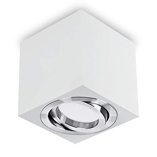 LED Aufbaustrahler/Aufbauleuchte / Aufputz Deckenleuchte/schwenkbar / Aluminium quad weiß / GU10-230V WF7 (Warmweiß)
