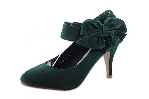 Mixmatch24, Scarpe col tacco donna (Verde)