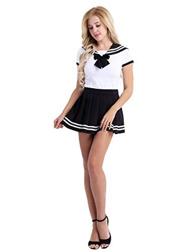 n Kostüm Uniform Set aus Shirt und Faltenrock Cosplay Matrose Kostüm School Girl Outfits Fliege Baby Strampler Dessous Nachtwäsche Schwarz L (School Girl-kostüm Für Halloween)