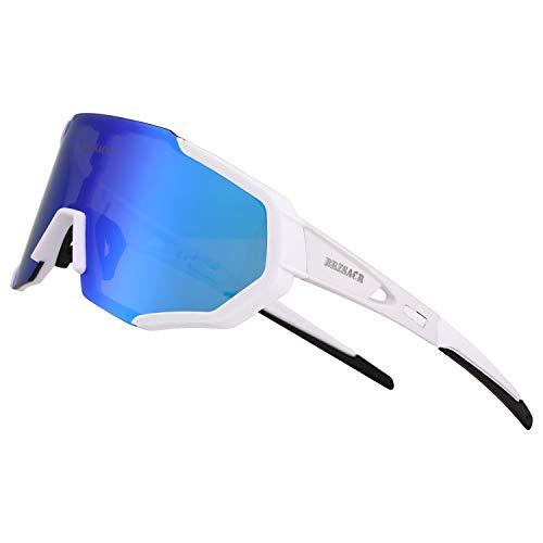 BRZSACR Polarisierte Sport-Sonnenbrille mit austauschbaren Lenes für Männer Frauen Radfahren Laufen Fahren Angeln Golf Baseball Brillen (3-Farben-Wechselobjektiv) (Neues Weiß)