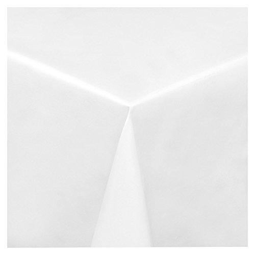 Wachstuch Tischdecke Wachstischdecke Gartentischdecke, Abwaschbar Meterware, Länge wählbar, Uni Weiß Glatt (100-00) 220cm x 140cm