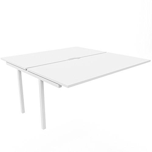 NOVA U 2er Erweiterung für Team-Schreibtisch 1.600 x 1.640 mm in Weiß, Gestellfarbe:Weiß (Nova-erweiterung)