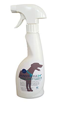 HUNDEPFLEGE24 - Spray Conditioner für Hunde 0,5l - Entwirrungsspray & Entfilzungsspray mit pflegender Aloe Vera für leichtes Bürsten, Mehr Glanz & knotenfreies Haar - Fellpflege Hundeshampoo Spray