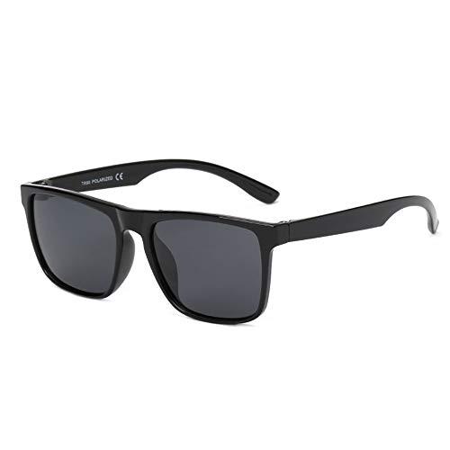 HBCELY Retro quadratische übergroße Sonnenbrille für Männer Polarisierte Sonnenbrille Leicht UV-Schutzbrillen zum Fahren im Freien Wandern Angeln,BrightBlack