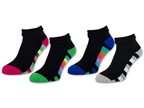 2/4 / 6 Paar Damen THERMO Socken Innenfrottee Umschlag-Socken Bunte Ringel Damensocken - 12792 (Schwarz | Bunte Ringel - 35-38, 4 Paar)