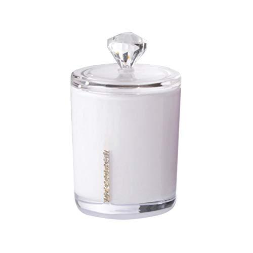 Yardwe Kosmetikorganiser Acryl Baumwolle Ball und Tupfer Halter für Badezimmer Vanity Makeup Cosmetics Organizer mit Deckel Desktop Kanister Jar (White)