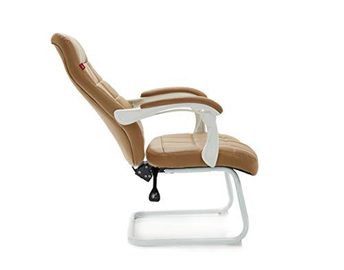 Computer Stuhl ergonomische Verstellbare Bürostuhl Kinder Studie Schreibtisch Stuhl mit Leder Stoff und Stahl Basis - braun, weiß (Farbe : Braun)
