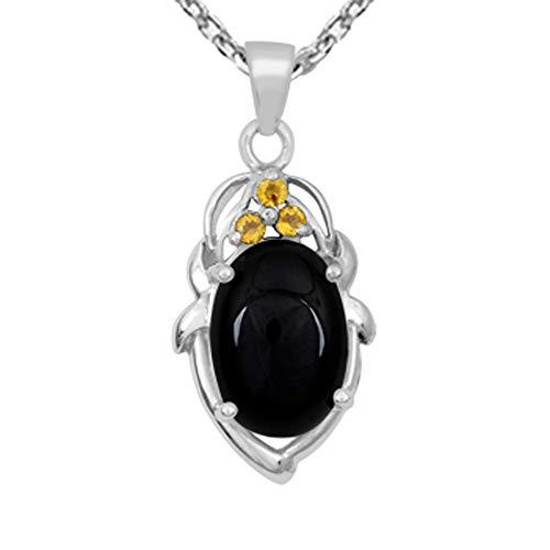 Colgante de ónice negro y citrino de Orchid Jewelry, joyería de ónice negro, collar con colgante de plata de ley, colgante de plata de ley y cadena de plata de ley, 12.24 quilates
