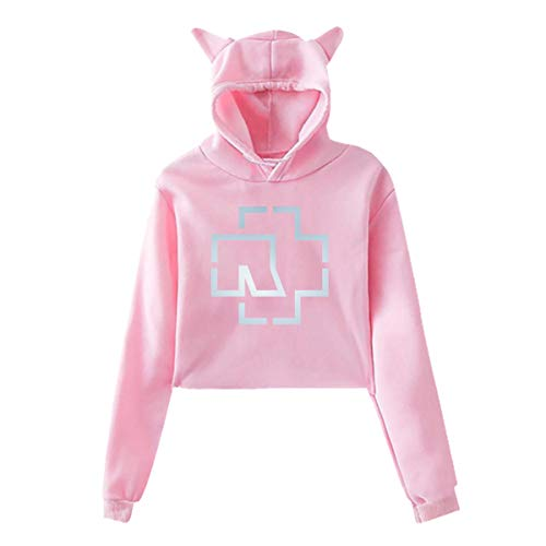 Junioren Long Sleeve Thermal (Rammsteinn-Freizeit gedruckt Mädchen Hipster Cat Ear Hoodie Sweater Fashion Pink Sweatshirt Hoodies)