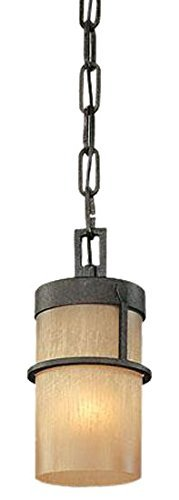 Troy Lighting Bamboo 1-Light Pendant - Bamboo Bronze with Natural Slate Finish and Bamboo Glass by Troy -
