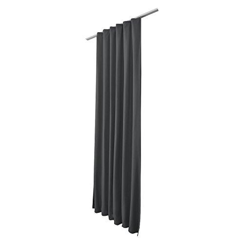 Beautissu Thermovorhang Amelie 140×245 cm Kräuselband Vorhang blickdicht & Verdunkelung – Gardine in Anthrazit-Grau - 5