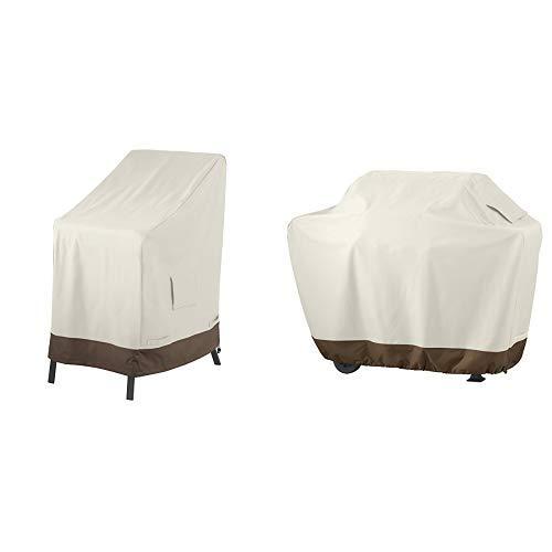AmazonBasics Abdeckung für aufeinandergestapelte Gartenstühle & Grillabdeckung, Gurte mit Click-Verschluss, Gr. M