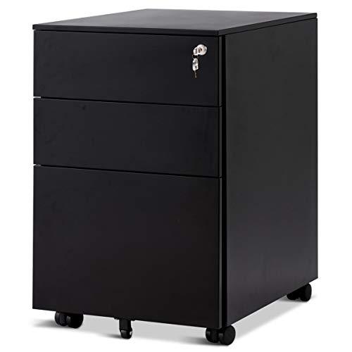 COSTWAY Rollcontainer mit 3 Schubladen, Abschließbarer Büroschrank, Aktenschrank Büromöbel Bürocontainer, 39x48x60cm, Farbwahl (Schwarz) -