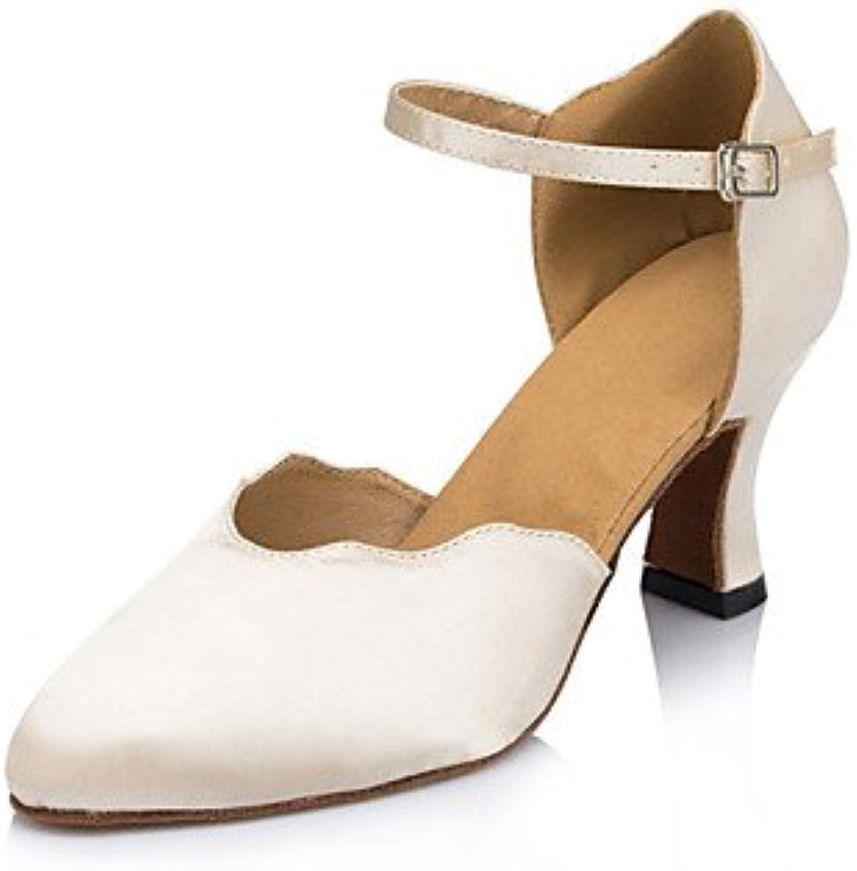 Chaussures de danse ( Ivoire ) - Non Talon - Talon Non Cubain - Flocage - Latine / SalsaB0722WLWKLParent 168ae3