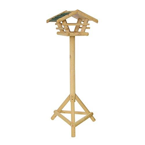 Xclou Garden Vogelhaus auf Ständer, Vogelfutterhaus mit 3 Beinen, Futterstation aus Holz, Vogelfutterspender zum Stellen, ca. 37 x 28 x 130 cm, braun