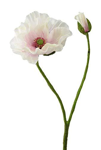Kunstblume MOHN mit Blüte und Knospe. Mohnblume ca 48 cm. In ROSA-10