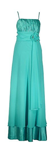 Samtlebe ® élégant de soirée en mousseline de soie à froufrous long c654 1 pièces aqua taille 34–50 avec foulard Bleu - Aqua