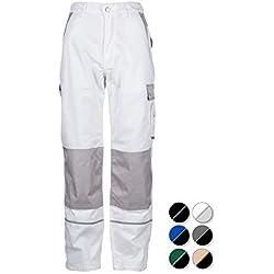 TMG®Pantalon de Travail pour Hommes   Blanc   XS-7XL   Pantalons de Sécurité   avec Genouillère Intégrée   Vêtements de Travail   Pantalon de Peintre 50