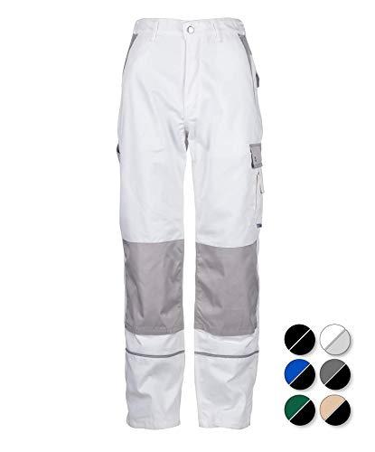 TMG® Robuste Arbeitshose für Männer | Weiß | Lange Herren Bundhose mit Kniepolster Taschen und Reflektoren | Maler, Anstreicher und Tapezierer 52 (Hose Maler)