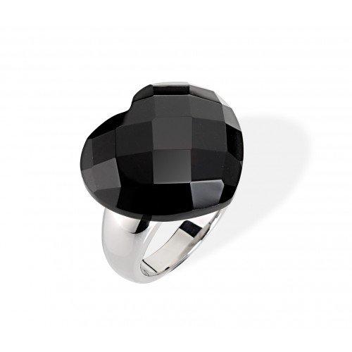 Morellato donna-anello in acciaio INOX opacizzato e vetro nero taglia 58 (18,5) - SCU10018