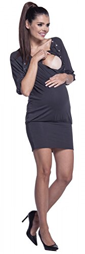 Zeta Ville -Damen Schwangere Minikleid Still-Tunika Elastisch Manschetten - 204c Graphit