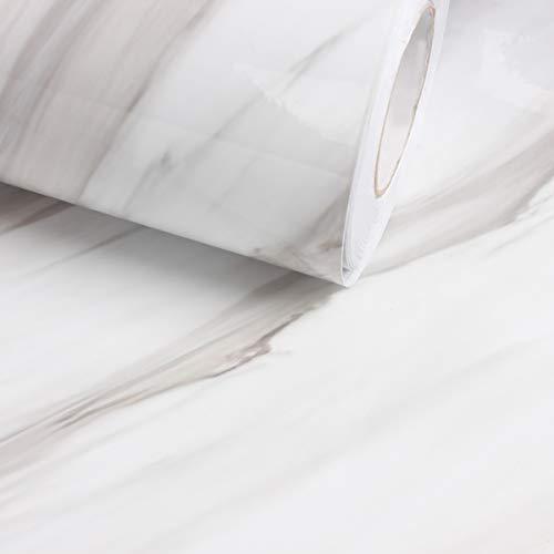 jiwinner weiß schwarz geäderter Marmor Effekt Kontakt, Papier, Folie, Vinyl, selbstklebend, peel-stick Counter Top Regal rutschsicher Tisch und Tür Reform (1.31ft X 25ft) -