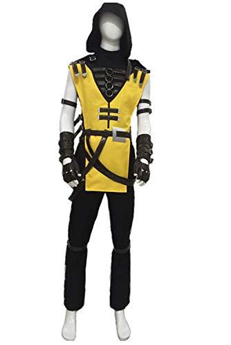 Mortal Kostüm Herren Kombat - MingoTor Game Mortal Kombat 11 Scorpion Hanzo Hasashi Cosplay Kostüm Herren XXL