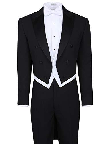 Lilis® Herrenmode 3 Stück schwarz Tuxedo Tails umfasst Frack Weste & formale Hosen Herren Frack