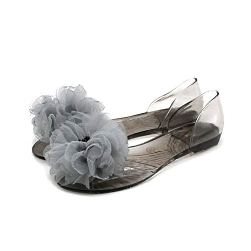 JHDghd Damen-Sandalen mit Blume, Jelly D'Orsay Flats Slip-On Sommer Strand Schuhe, Grau - grau - Größe: 38 EU - Jelly Flat