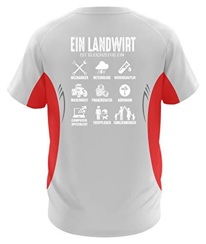 ecker · Traktor · Geschenk für Bauern · Spruch: Landwirtschaft Multital - Herren Laufshirt tailliert geschnitten -XXL-Rot-Weiss ()