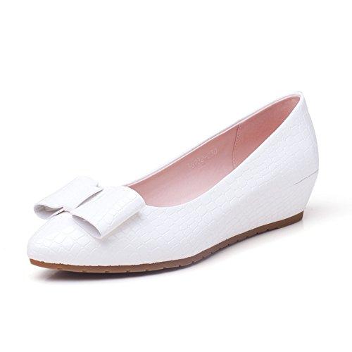 Chaussures hautes d'été/Bow asakuchi pointus chaussures/ chaussures de travail féminin D