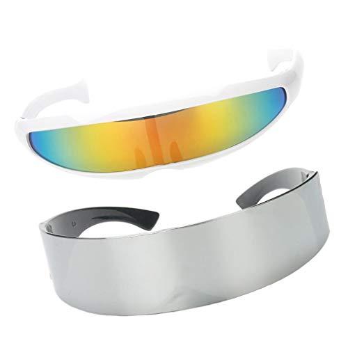 F Fityle 2er Pack Futuristische Sonnenbrille Rahmenlose Verspiegelte Gläser Brille Halloween Fasching Karneval Kostüm Brille