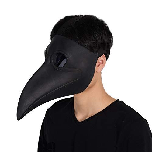 2 Black Creed Assassin's Kostüm - Finalshow Schnabelmaske Mittelalter Pest Maske Doktor Arzt Kopfmaske Steampunk Kostüm Zubehör für Erwachsene Halloween Party Fasching Karneval