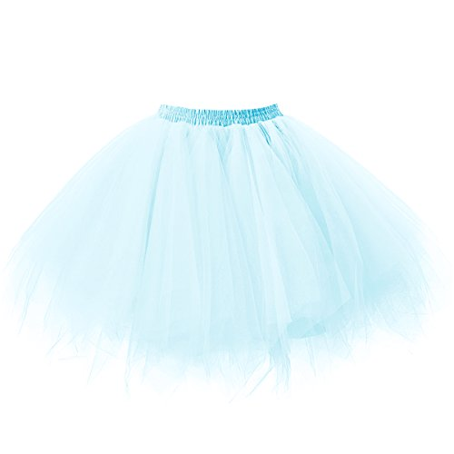 Ellames Damen 50er Vintage Petticoat Party Dance Tutu Rock Ballkleid Hellblau L/XL