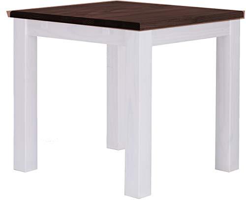 Brasilmöbel Esstisch Rio Classico 73x73 cm Eiche Weiß Holz Tisch Pinie Massivholz Esszimmertisch Küchentisch Echtholz Größe und Farbe wählbar ausziehbar vorgerichtet für Ansteckplatten