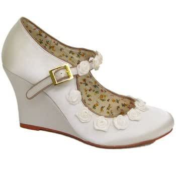 Womens Ivory Satin Bridal Wedding Wedge Rose Bridesmaid Ladies Shoes