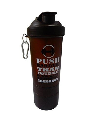 Khandekar (with device of K) Kunststoff-Fitness-Studio Wasserflasche mit 3-Schicht-Twist und Lock-Speicher/braune Farbe/600ml, Loop Top Shaker Flasche - 9 Zoll (Twist Fitness-studio)