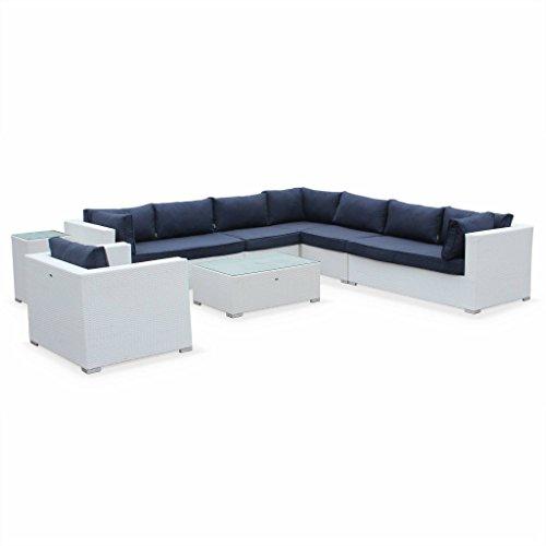 Alice's Garden - Salon de jardin en résine tressée - Venezia - Blanc, Coussins Bleu Marine - 10 places - 2 fauteuils du milieu, 2 canapés, 1 fauteuil en coin, 1 fauteuil individuel, 1 table Basse, 1 table d'appoint