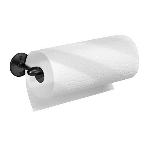 iDesign Küchenrollenhalter, kleiner Papierrollenhalter aus Metall, wandmontierter Küchenhelfer für eine Küchenpapierrolle, mattschwarz -