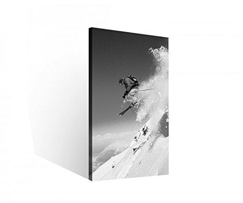 Leinwand 1 Tlg Ski Skifahrer Sport Schnee Winter Sportler Leinwandbilder schwarz weiß Bild Holz - fertig gerahmt 9O287, 1 Tlg BxH:40x80cm Schwarz Weiß Winter