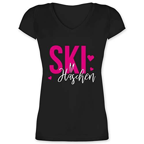 Wintersport - Skihäschen - M - Schwarz - XO1525 - Damen T-Shirt mit V-Ausschnitt -