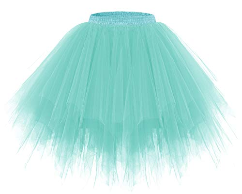 bridesmay Tutu Damenrock Tüllrock 50er Kurz Ballet Tanzkleid Unterkleid Cosplay Crinoline Petticoat für Rockabilly Kleid Light Blue XL