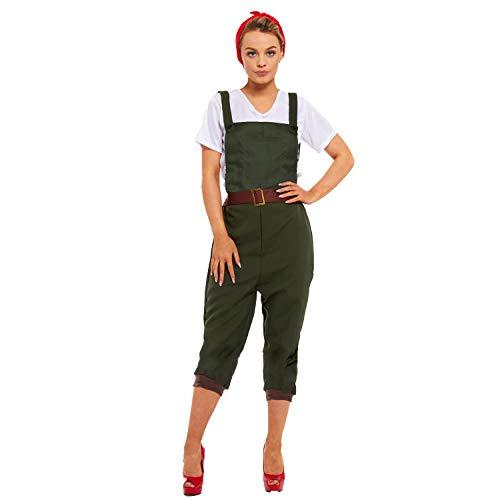 Jahren Dress 1940er Kostüm Fancy - sowest Land Girl Latzhose mit echten Taschen, Top und Kopftuch