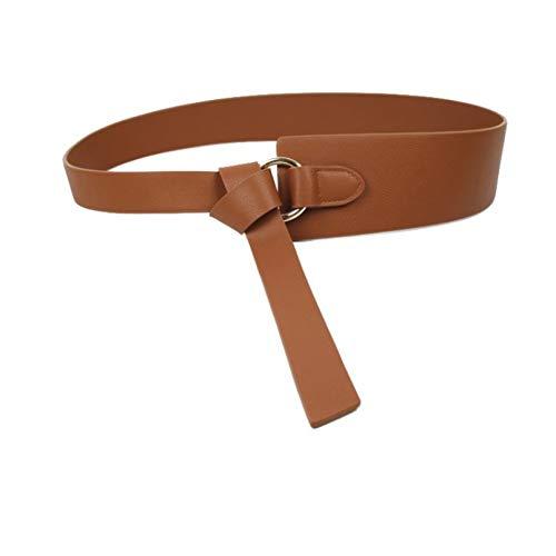 LYWBLACK Neue Schwarze breite Korsett Ledergürtel weibliche Krawatte Obi Bund dünne braune Bogen Freizeit Gürtel für Frauen Hochzeit Kleid Bund Dame -