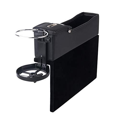 Triclicks Multifunktion Schwarz PU Leder Autositz Seiten Schlitz Taschen Auto Catcher Organizer mit Münzfach und Getränkehalter für Auto füllt Lücken Zwischen den Sitzen (Rechte) -