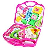 TanMan ToyMart Kid's 14 Pieces Doctor Play Set with Foldable Suitcase (Pink and Blue)