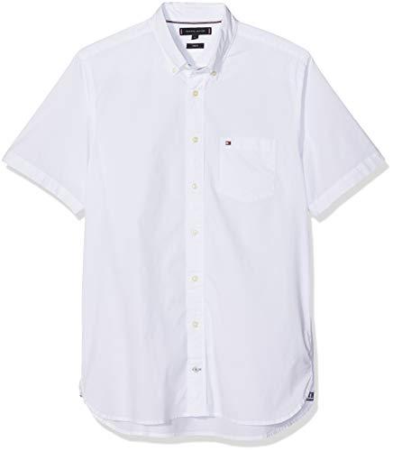 Tommy Hilfiger Herren Stretch POPLIN Shirt S/S Freizeithemd, Weiß (Bright White 100), 44 (Herstellergröße: XL)