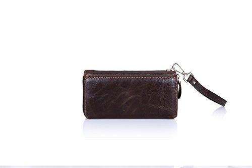 HongGXD Business Style with Lanyard Damen Herren Lange Reißverschluss Geldbörse Leder Handtasche Multifunktions Wildleder Multi-Card Position Mit 32 Kartenhalter (Color : Brown, Size : S) Leather Multi-strap